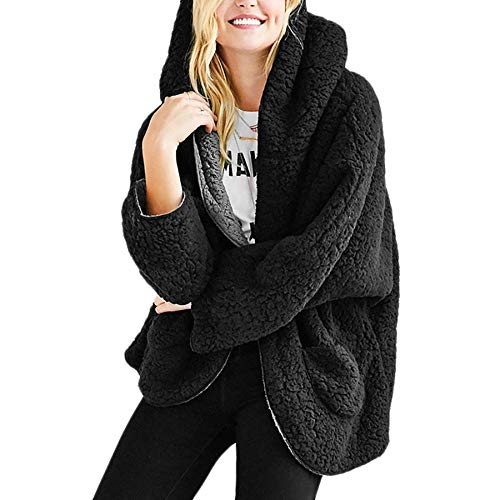Reversible Coat Faux Fur (Women\'s Reversible Faux Fur Cardigan Coat Winter Long Sleeve Overcoat Hooded (Black,L))