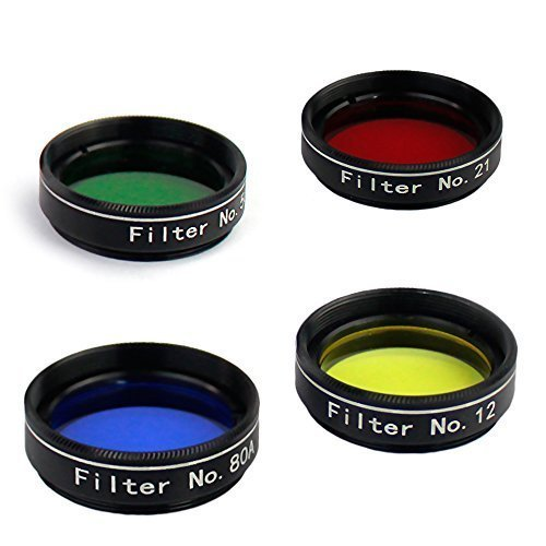 Gosky 4 Color Planetary Filter Set - No.21 Red/No.12 Yellow/No.80A Blue/No.56 Green