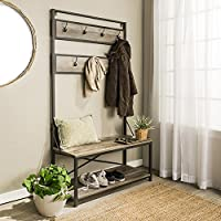 Industrial Hall Tree Rustic Entryway Storage Organizer - Antique Look Bench with Coat Rack - Made from Wood and Metal (Gray Wash)