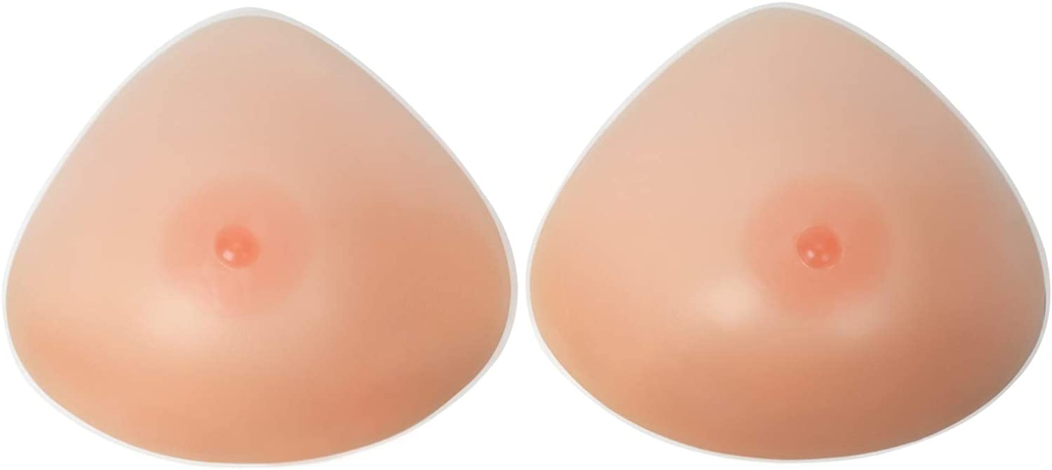 Vollence Triangle Silicone Breast Forms Fake Boobs for Mastectomy Crossdresser