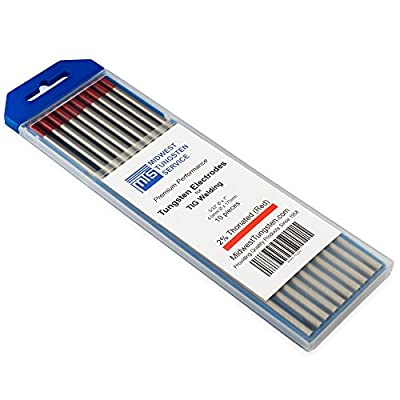 TIG Welding Tungsten Electrodes 2% Thoriated (Red, WT20) 10-Pack
