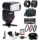 Professional 58MM Accessory Bundle For Canon DSLR Cameras: With Zoom TTL Flash Select Filters (Macro Close-Up Set, UV, CPL, FLD) Wide Angle & Telephoto Lenses 32GB SD Card Camera Bag & More