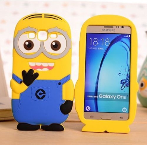 Samsung Galaxy ON5 G550 Phone Case, 3D Yellow Minion Soft Silicone Rubber Skin Protective Cover & Stylus Pen