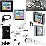 Apple iPod Nano 6th Gen Case - DigitalsOnDemand ® 14-Item Accessory Bundle for Apple iPod Nano 6th Generation - Slim Case Cover, Case with Clip, USB Cables + Chargers, Ultra Clear Screen Protector