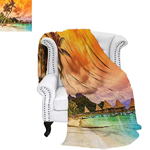 BeachFlannel blanketMountain Beach and Palm Trees Golden Clouds at Sunset Romantic View Imagecouch Blanket 60