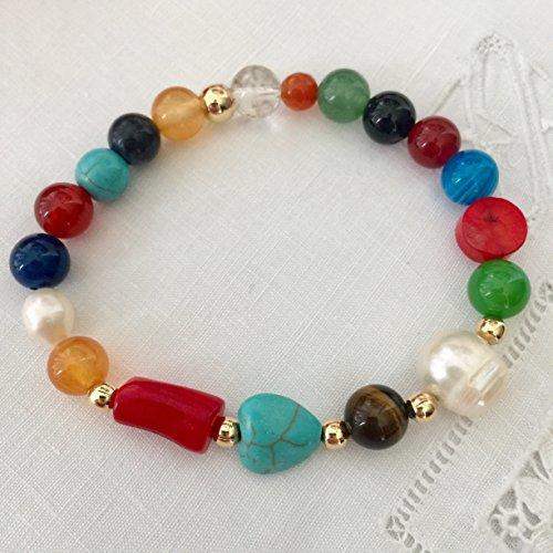 Pearl and Multi Stone Bracelet. Pearl, Coral, Turquoise Bracelet. Agate, Quartz, Tiger Eye Bracelet. Genuine Gemstones. Energy, Prosperity and Happiness Bracelet. Stretch (Agate Genuine Pearl)