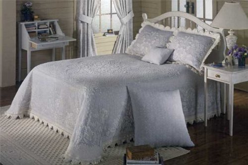 Abigail Adams Matelasse Bedspread - Queen - French Blue by Maine Heritage Weavers