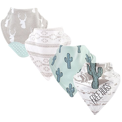 Yoga Sprout Baby Bandana Bib with Teether, Free Hugs 4 Pack, One Size