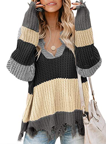Dearlove Womens Casual Striped Distressed Sweater Loose V Neck Ripped Cable Knit Pullover Color Block Jumper Tops Gray Medium