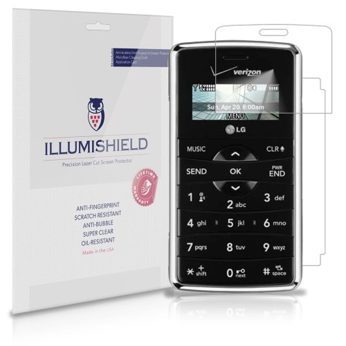 iLLumiShield Screen Protector Compatible with LG EnV2 (VX9100)(3-Pack) Clear HD Shield Anti-Bubble and Anti-Fingerprint PET Film