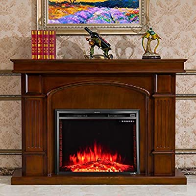 Comforting Warmth Contemporary Design, 36'' Electric Wall Mounted Fireplace 5 Flame Brightness Levels Insert Freestanding Stove Heater 750W & 1500W, Living, Bed Room