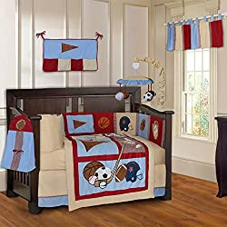 BabyFad Sports Champion 10 Piece Baby Boy's Crib Bedding Set