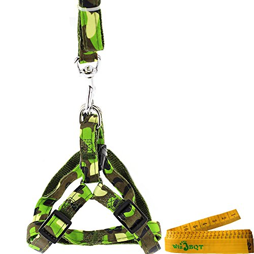 Fashionable Adjustable Dog Cat Pet Harness and Leash Set for Dogs Cats Pets (Green Camouflage) - Small Harness Green Camo