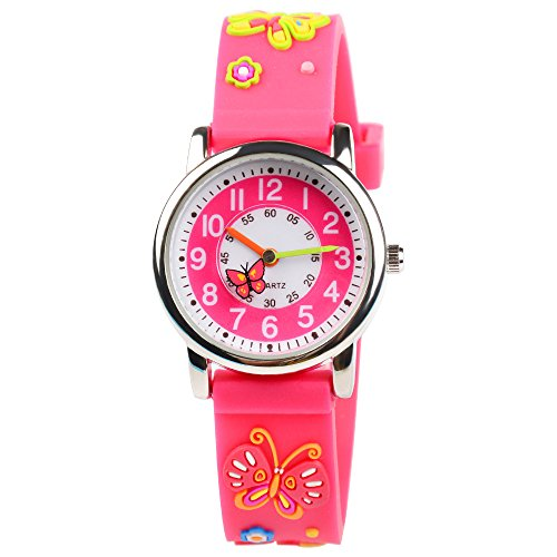 (Venhoo Kids Watches 3D Cute Cartoon Waterproof Silicone Children Toddler Wrist Watches Time Teacher Gift for Girls Little Child (Pink Butterfly))