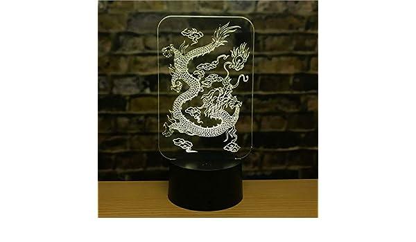 3D luz de la noche LED luz 12 Zodiaco rata ganado tigre conejo dragón caballo oveja mono pollo perro cerdo pequeña lámpara de mesa regalo creativo: ...