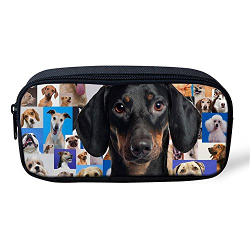 Sannovo Miniature Dachshund Print Women Make Up Case Organizer Animal Print Cosmetic Bag for School - Custom Highlighters Printed