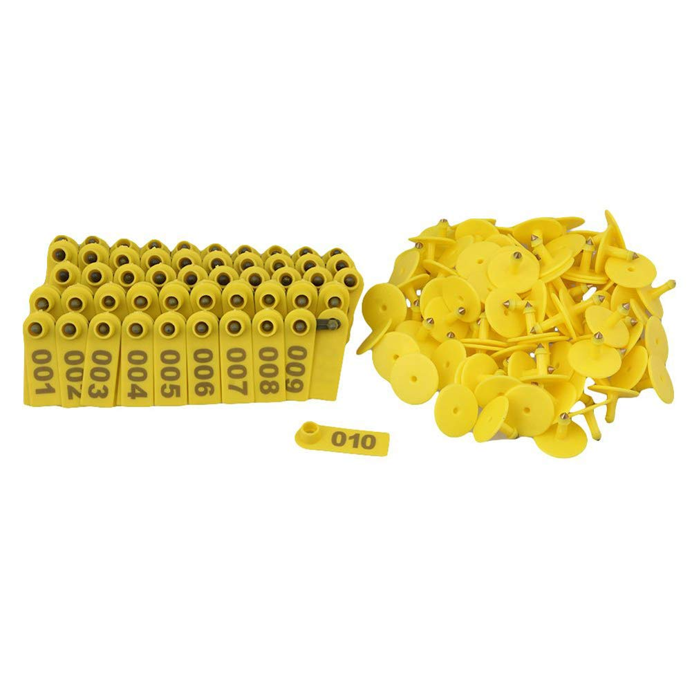 100Pcs Livestock Ear Number Tag Plastic Yellow Sheep Goat Cattle Beef Cow Farm