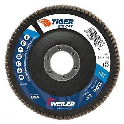 (Weiler Big Cat High Density Abrasive Flap Disc, Type 27, Round Hole, Phenolic Backing, Zirconia Alumina, 4-1/2