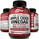 Apple Cider Vinegar Capsules with Mother 1600mg - 120 Vegan ACV Pills - Best Supplement for Healthy Weight Loss, Diet, Keto, Digestion, Detox, Immune - Powerful Cleanser & Appetite Suppressant Non-GMO