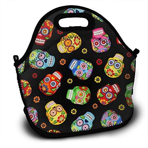 (Cantina Skulls Black Adult Lunch Box Insulated Lunch Bag Tote Bag for Men Women Teens Boys Girls)