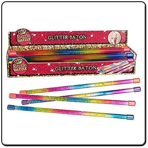 TWO Razzle Dazzle Glitter Batons Kids Play Toy Majorette Twirling Baton by HTI (Razzle Dazzle Glitter)