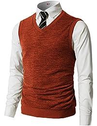 Mens Slim Fit Basic Plain Knitted V-Neck Pullover Sweaters Vest