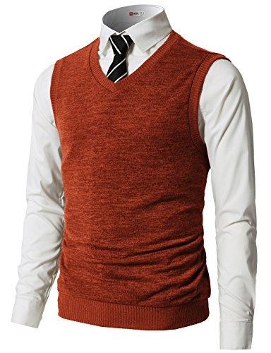 H2H Mens Slim Fit Casual V-Neck Knit Vest Orange US M/Asia L (CMOV042) ()