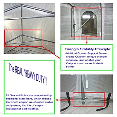 Quictent Snow Shed Suitable for Bad Weather, 20'X11' Heavy Duty Carport Garage Car Shelter with Observation Window from Quictent
