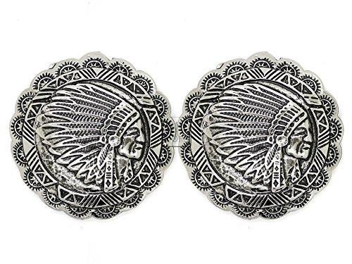 M Indian Head Screw Back Conchos Gaur Rodeo Cowboy Leathercraft Embellishment Buttons (Silver) ()