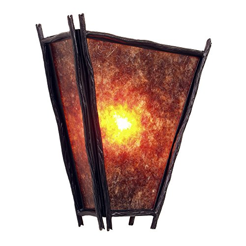 Steel Partners Lighting 9417 Oi Sticks Vegas Sconce With Amber Mica Lens  Old Iron Finish