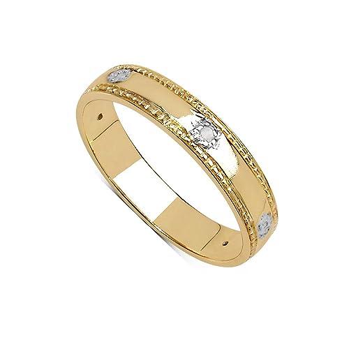 La Colección Anillo Truelove: Hermosa Alianza 3.5mm anchura con set de Diamantes, anillo