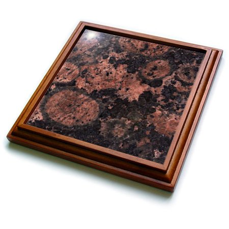 Brown Granite Baltic (3dRose trv_97936_1 Baltic Brown Granite Print Trivet with Ceramic Tile, 8 by 8