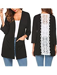 Women's Solid Lightweight Knitted Open Front Lace Stitching Cardigan