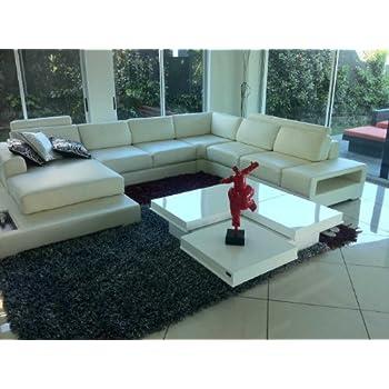55e5c86cfaae Amazon.com  8879A - Modern High Gloss White Coffee Table  Kitchen ...