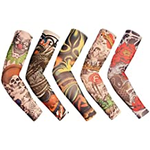 iToolai Temporary Fake Tattoo Sleeves for Men and Women (Bright-N5, Pack of 5)