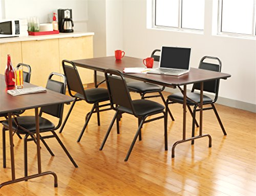 Rectangular Scratch Resistant Melamine Top Folding Table, Rich Walnut Finish, Featuring Brown Steel Apron and Black Vinyl Edging, Gravity Leg Locking Mechanism, Quick and Easy Set Up + Expert - Folding Round Table Top Melamine