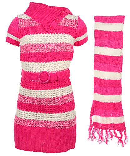 Chillipop Big Girls' Sweater Dress With Scarf - Hot Pink, 14-16