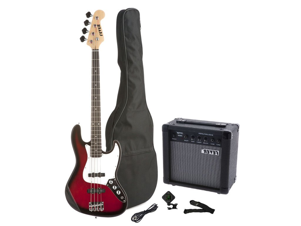 Fever 4-String Electric Jazz Bass Style with 20-Watts Amplifier, Gig Bag, Clip on Tuner, Cable and Strap, Color Black, JB43-20W-BK