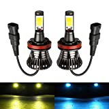 H11 H8 H16(JP) Fog Light Bulb LED Amber Yellow 3000K Ice Blue 8000K Dual Color for Trucks Cars Lamps DRL Lights Kit Replacement Bulbs 12V 30W 2800LM Super Bright COB Chips 1 Year Warranty【1797】