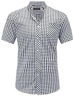 JEETOO Men's Short Sleeve Cotton Plaid Casual Slim Fit Button Down Gingham Slub Dress Shirts