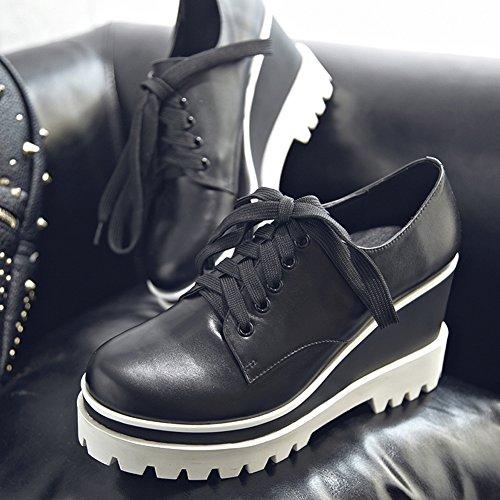 MINIVOG Thick Lug Sole Wedge Heel Women Ankle Booties Black 574YM0Qi