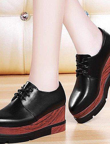 ZQ hug Zapatos de mujer - Plataforma - Creepers / Comfort - Tacones - Oficina y Trabajo / Casual / Deporte - Cuero / Cuero Patentado -Negro / , red-us8 / eu39 / uk6 / cn39 , red-us8 / eu39 / uk6 / cn3 black-us8 / eu39 / uk6 / cn39