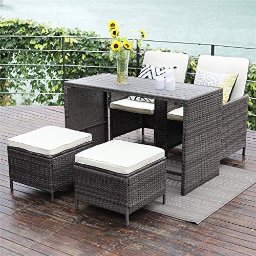 Lane Dining Room - Wisteria Lane 5 Pcs Patio Furniture Dining Set Outdoor All-Weather Square Wicker Dining Table and Chairs with Ottoman Cushioned Stool,Grey Wicker