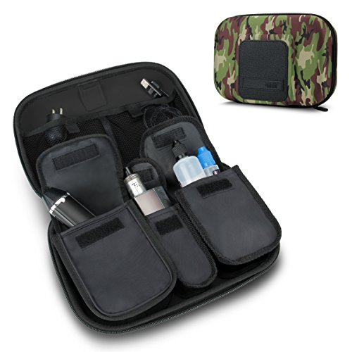USA Gear Vape & eJuice Carrying Case - Large Premium E-Cigarette Vape Mod Travel Pen Organizer - Works with blu, Innokin, Janty, Halo Cigs, 777 E-Cigs and More Electronic Cigarettes (Camo Green)