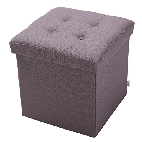 Childrens Small Storage - QVB Square Ottoman Dark Grey Brown Child Storage Containers,15''x15''x15 Dark Gray Color