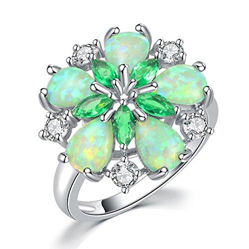 CiNily Green Fire Opal Emerald Silver Zircon Women Jewelry Gemstone Ring Size 6-10 (8)
