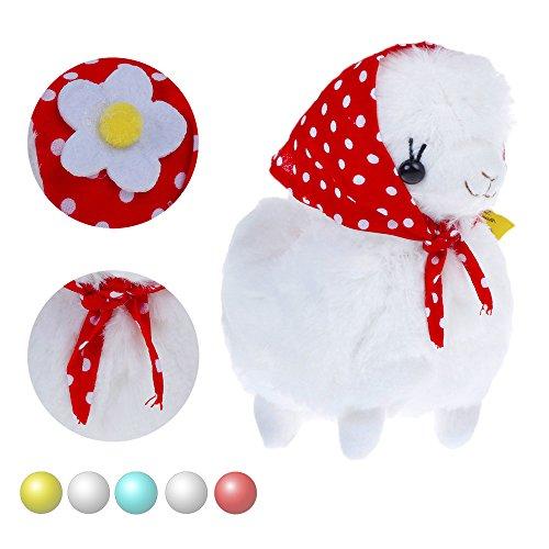 KSB 6'' White Plush Alpaca,Plush Stuffed Animals Toys,Best Birthday Gifts For The Children Kids(Red Hood)