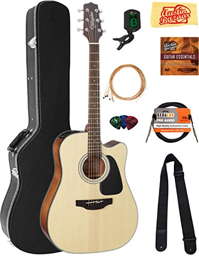Takamine GD30CENAT Dreadnought Cutaway Acoustic-Electric Guitar – Natural Bundle with Hard Case, Cable, Tuner, Strap, Strings, Picks, Austin Bazaar Instructional DVD, and Polishing Cloth