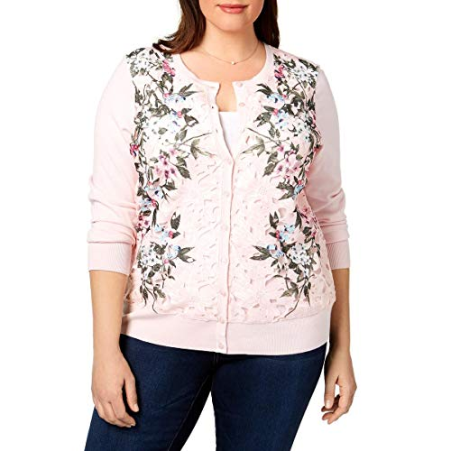 Charter Club Womens Plus Lace Floral Print Cardigan Sweater Pink 1X