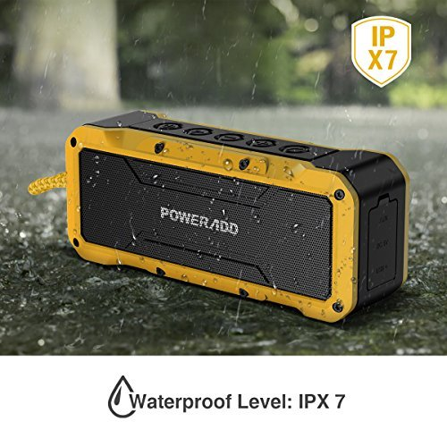 Poweradd MusicFly Indoor/Outdoor Portable Wireless Bluetooth Speakers, 36W Loud Volume, Dynamic Stereo, IPX7 Waterproof, Sandproof, Shockproof, Built in Mic, 24 Hours Playtime, Yellow
